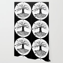 black and white tree of life with moon phases and celtic trinity knot III Wallpaper