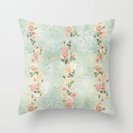 seamless, pattern, with delicate roses and monograms, shabby chic, retro. Throw Pillow