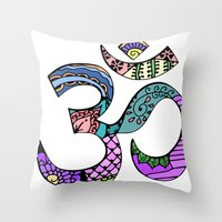 ohm Throw Pillows featuring Ohm by Ilse S