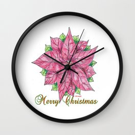 Merry Christmas Poinsettia Wall Clock
