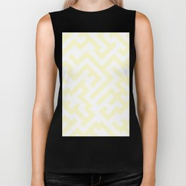 White and Cream Yellow Diagonal Labyrinth Biker Tank