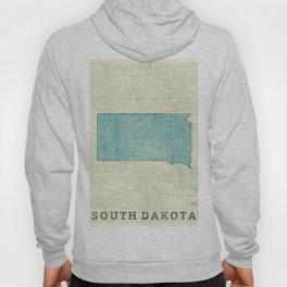 South Dakota State Map Blue Vintage Hoody