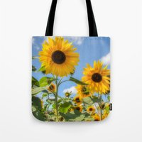 sunflowers Tote Bags featuring Sunflowers by David Tinsley