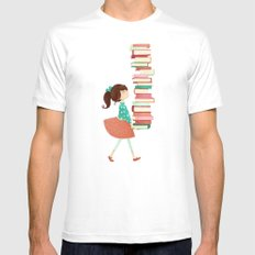Library Girl White Mens Fitted Tee 2X-LARGE