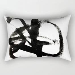 Brushstroke 4 - a simple black and white ink design Rectangular Pillow