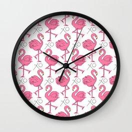 Pink Flamingoes Wall Clock
