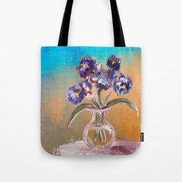 Purple And Blue Pansies In Glass Vase Tote Bag
