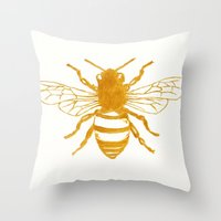 preppy Throw Pillows featuring Bee Preppy by Megan Carn