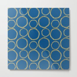 Bright Blue & Gold Circles Modern Pattern Metal Print