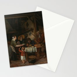 Jan Steen - The Satyr and the Peasant Family Stationery Cards