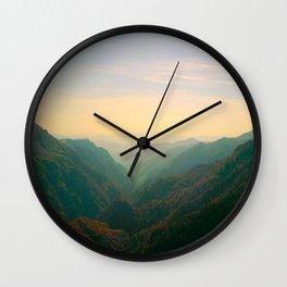 Mountain Valley Parallax Green Yellow Hues Sunset landscape Minimalist Modern Photo Wall Clock