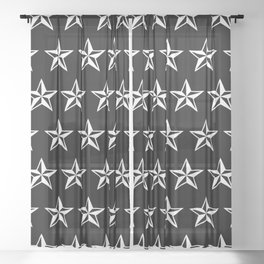 White Tattoo Style Star on Black Sheer Curtain