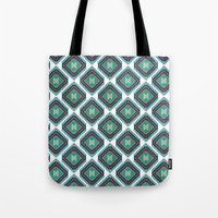 kilim Tote Bags featuring Pistachio Persian Kilim by Katayoon Photography & Design