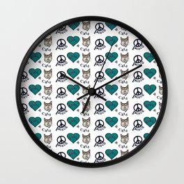 Peace Love & Cats Wall Clock