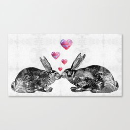 Bunny Rabbit Art - Hopped Up On Love 2 - By Sharon Cummings Canvas Print