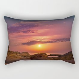 """Magical landscape with clouds and the moon going up in the sky in """"La Costa Brava, Spain"""" Rectangular Pillow"""