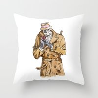 rorschach Throw Pillows featuring Rorschach by Of Newts and Nerds