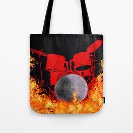 Flaming Red Drum Set Tote Bag