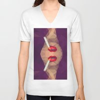 smoking V-neck T-shirts featuring Smoking Lips by Nahal
