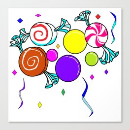 Peppermint, Caramel, Bubble Gum, Candies with Confetti Canvas Print