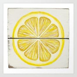 Rustic Lemon Slice Painting Art Print