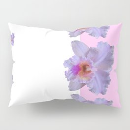 TROPICAL PURPLE CATTLEYA ORCHIDS WHITE-PINK ART Pillow Sham