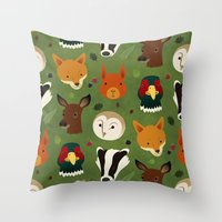 british Throw Pillows featuring British Woodlands by Rob Barrett — Nice Hot Cuppa