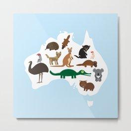 map of Australia. Echidna Platypus Emu Tasmanian devil Cockatoo Wombat crocodile kangaroo dingo Metal Print