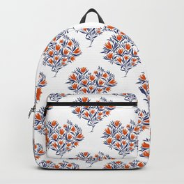 Heart bouquet of flowers . Blue and red Backpack