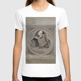 Halloween Witch on Broom 3d Stone Carving Photo T-shirt