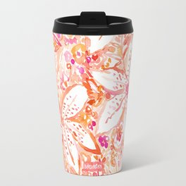 LILY SUNSET Peach Beachy Floral Travel Mug