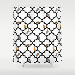 Cats on a Lattice - White Shower Curtain