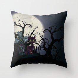 Vintage Halloween Cemetery Cat Throw Pillow