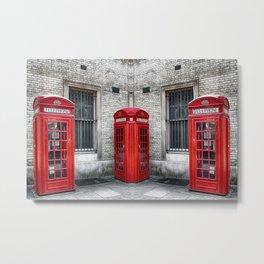 London phone booths red  Metal Print