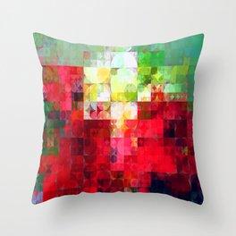 Mixed color Poinsettias 3 Abstract Circles 2 Throw Pillow