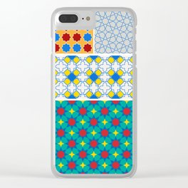 Moroccan pattern, Morocco. Patchwork mosaic with traditional folk geometric ornament. Tribal orienta Clear iPhone Case