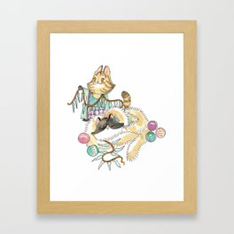Tabitha and Figaro Decking the Halls Framed Art Print