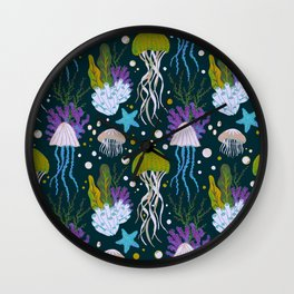 Jellyfish Dreams in Lime Green Wall Clock