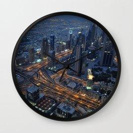 Dubai in the evening Wall Clock