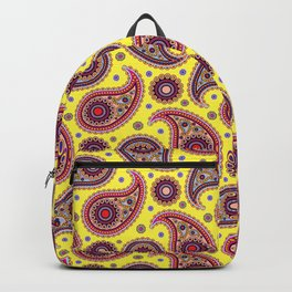 Oriental Persian Paisley, Dots - Yellow Blue Pink Backpack