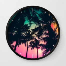 Palm Tree Silhouette with Colorful Sky Wall Clock