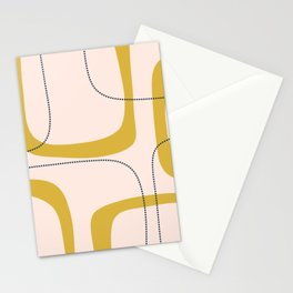 Retro Loops and Dots Midcentury Modern Pattern in Pale Blush Pink, Light Mustard, and Navy Blue Stationery Cards