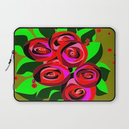 A Bouquet of Roses with Black Petals and Buds of Red Laptop Sleeve