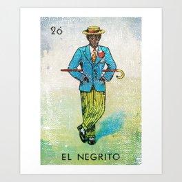 El Negrito Mexican Loteria Bingo Card Art Print