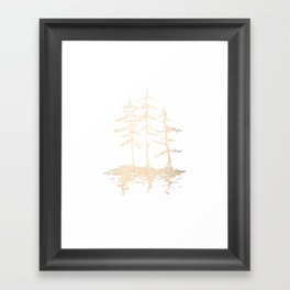 Three Sisters Forest White Gold Trees Framed Art Print