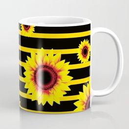 Sunflower Pattern on black yellow striped background Coffee Mug
