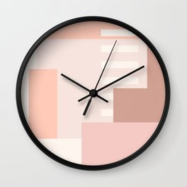 Carson Abstract Geometric Print in Pink Wall Clock