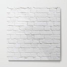 White Brick Wall Metal Print