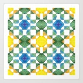 Circular Logic / water color geometric pattern / quilted look Art Print
