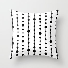 Black vertical lines and dots Throw Pillow